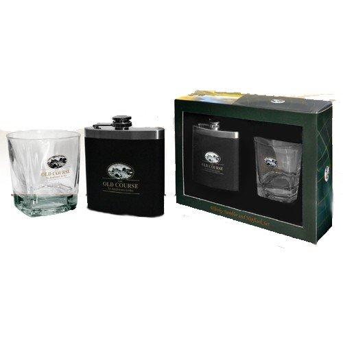 St Andrews Whiskey Tumbler & Hip Flask Set